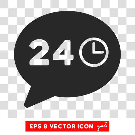 vector message: Vector Message 24 Hours EPS vector icon. Illustration style is flat iconic gray symbol on a transparent background.