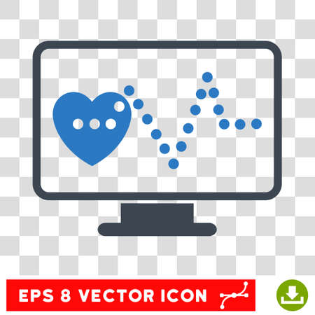 cardio: Vector Cardio Monitoring EPS vector pictograph. Illustration style is flat iconic bicolor smooth blue symbol on a transparent background.