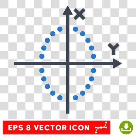 Vector Ellipse Plot EPS vector pictogram. Illustration style is flat iconic bicolor smooth blue symbol on a transparent background. Illustration