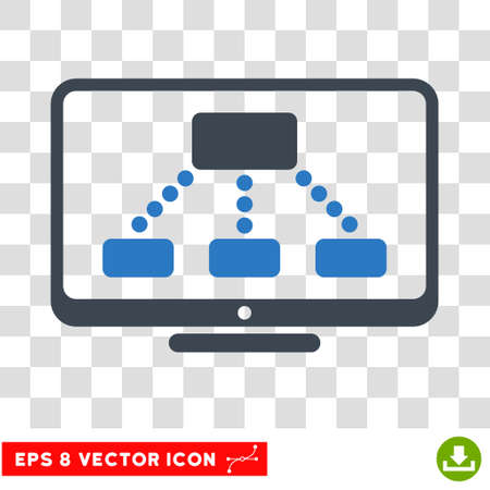 hierarchy: Vector Hierarchy Monitor EPS vector icon. Illustration style is flat iconic bicolor smooth blue symbol on a transparent background.