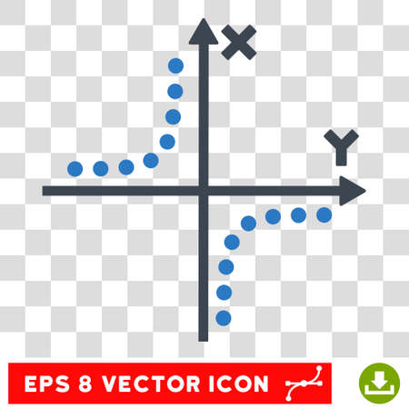 xy: Vector Hyperbola Plot EPS vector pictogram. Illustration style is flat iconic bicolor smooth blue symbol on a transparent background. Illustration