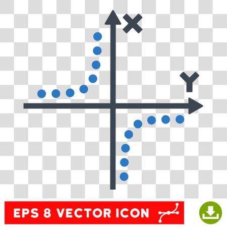coordinates: Vector Hyperbola Plot EPS vector pictogram. Illustration style is flat iconic bicolor smooth blue symbol on a transparent background. Illustration