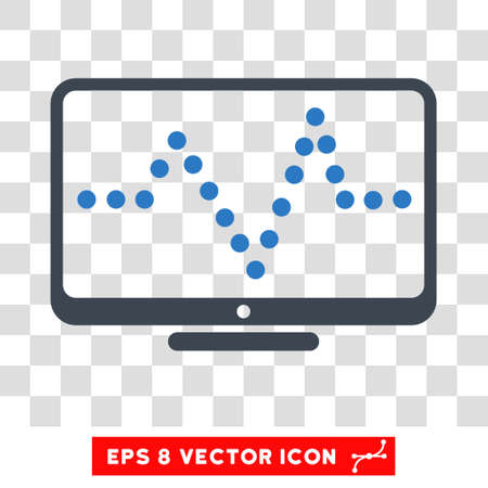 to pulsate: Vector Pulse Chart EPS vector pictograph. Illustration style is flat iconic bicolor smooth blue symbol on a transparent background.