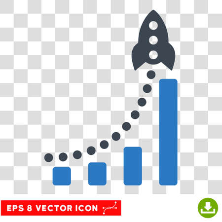 Vector Rocket Business Success Bar Chart EPS vector pictogram. Illustration style is flat iconic bicolor smooth blue symbol on a transparent background.