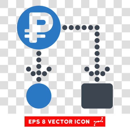 cash flows: Vector Rouble Cashflow EPS vector icon. Illustration style is flat iconic bicolor smooth blue symbol on a transparent background.