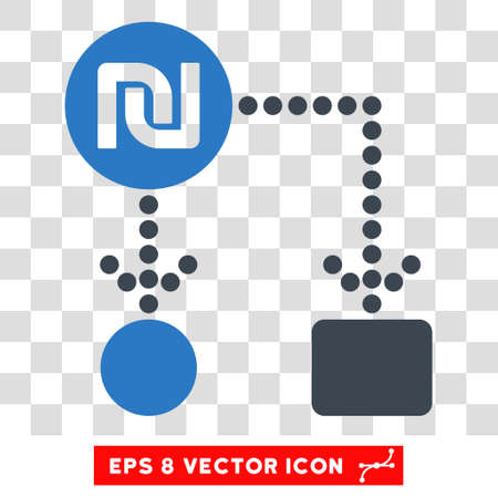 cash flows: Vector Shekel Cashflow EPS vector icon. Illustration style is flat iconic bicolor smooth blue symbol on a transparent background.