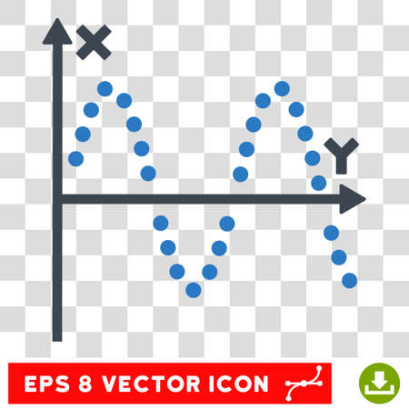 alternating current: Vector Sine Plot EPS vector pictogram. Illustration style is flat iconic bicolor smooth blue symbol on a transparent background.