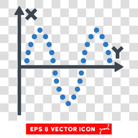 oscillations: Vector Sinusoid Plot EPS vector pictogram. Illustration style is flat iconic bicolor smooth blue symbol on a transparent background.