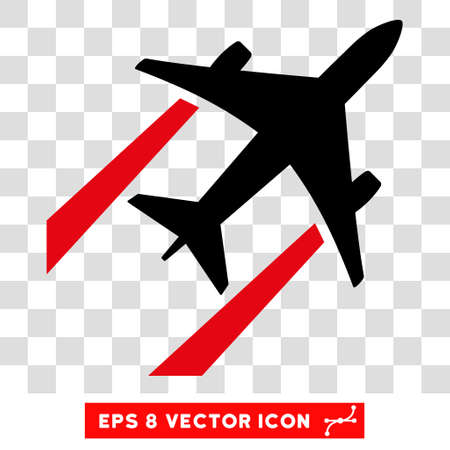 airforce: Vector Air Jet Trace EPS vector pictogram. Illustration style is flat iconic bicolor intensive red and black symbol on a transparent background.
