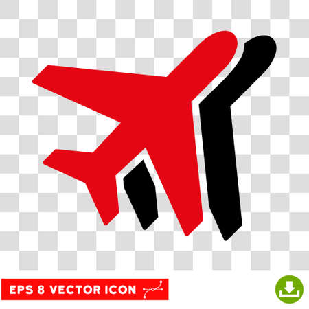 Vector Airlines EPS vector pictograph. Illustration style is flat iconic bicolor intensive red and black symbol on a transparent background.