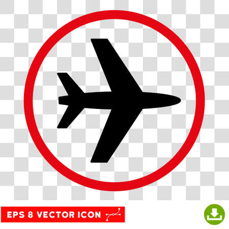 Vector Airport EPS vector pictogram. Illustration style is flat iconic bicolor intensive red and black symbol on a transparent background.
