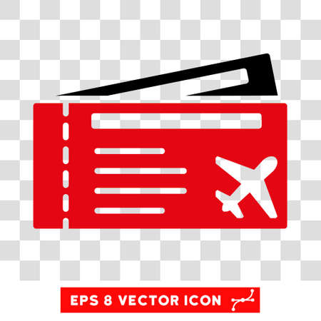 intensive: Vector Airtickets EPS vector pictogram. Illustration style is flat iconic bicolor intensive red and black symbol on a transparent background. Illustration