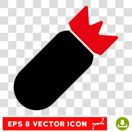 bombing: Vector Aviation Bomb EPS vector pictogram. Illustration style is flat iconic bicolor intensive red and black symbol on a transparent background. Illustration