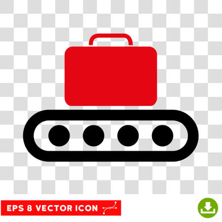 rulos: Vector Baggage Conveyor EPS vector pictograph. Illustration style is flat iconic bicolor intensive red and black symbol on a transparent background. Vectores