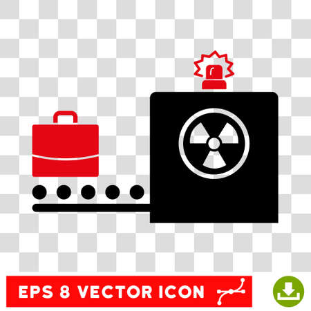 screening: Vector Baggage Screening EPS vector pictogram. Illustration style is flat iconic bicolor intensive red and black symbol on a transparent background.