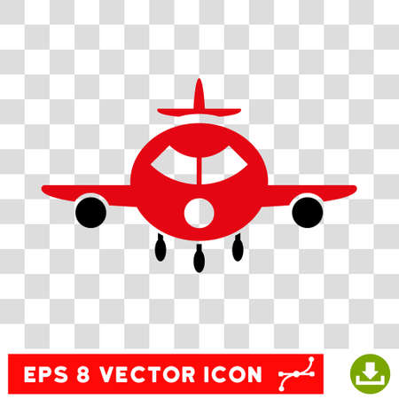 Vector Cargo Aircraft EPS vector pictogram. Illustration style is flat iconic bicolor intensive red and black symbol on a transparent background.