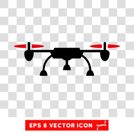 unmanned: Vector Drone EPS vector pictogram. Illustration style is flat iconic bicolor intensive red and black symbol on a transparent background.