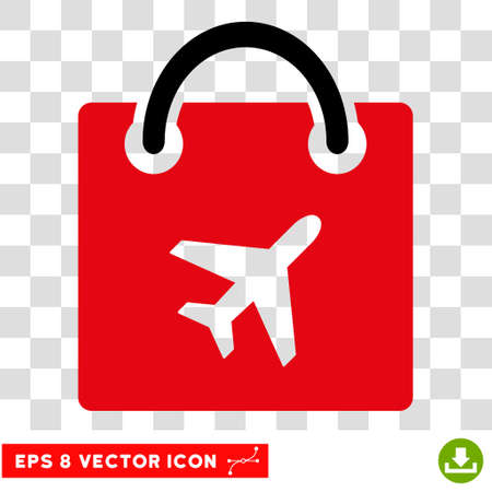 Vector Duty Free Shopping EPS vector icon. Illustration style is flat iconic bicolor intensive red and black symbol on a transparent background. Illustration