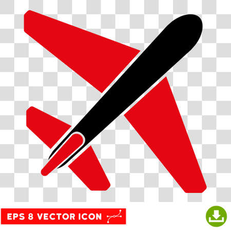 usaf: Vector Jet Airplane EPS vector pictograph. Illustration style is flat iconic bicolor intensive red and black symbol on a transparent background.