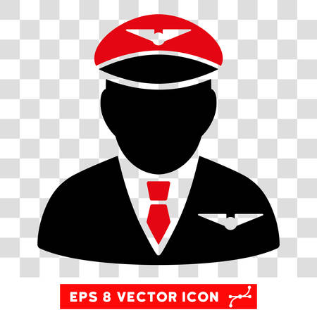 airman: Vector Pilot EPS vector pictogram. Illustration style is flat iconic bicolor intensive red and black symbol on a transparent background.