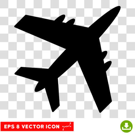 Vector Aircraft EPS vector icon. Illustration style is flat iconic black symbol on a transparent background. Illustration