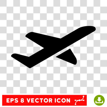 takeoff: Vector Airplane Takeoff EPS vector pictograph. Illustration style is flat iconic black symbol on a transparent background.
