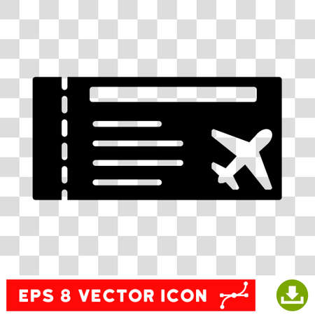 allowed to pass: Vector Airticket EPS vector pictograph. Illustration style is flat iconic black symbol on a transparent background. Illustration