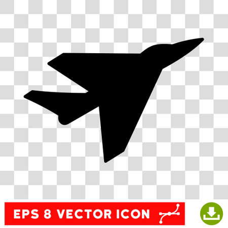 usaf: Vector Intercepter EPS vector icon. Illustration style is flat iconic black symbol on a transparent background. Illustration