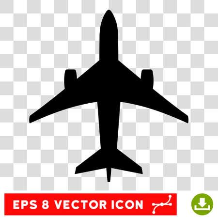 Vector Jet Plane EPS vector icon. Illustration style is flat iconic black symbol on a transparent background. Illustration