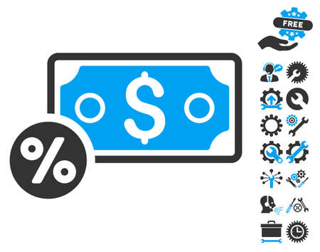 price gain: Banknote Percent pictograph with bonus tools symbols. Vector illustration style is flat iconic bicolor symbols, blue and gray colors, white background. Illustration
