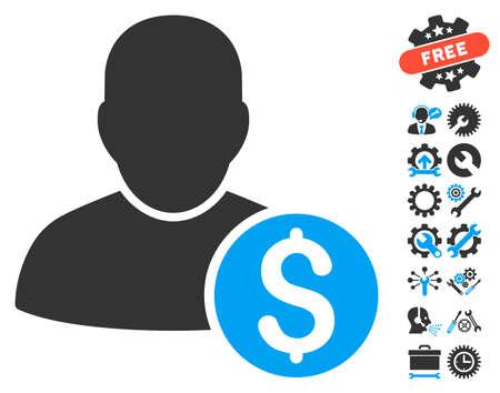 stockbroker: Businessman icon with bonus tools symbols. Vector illustration style is flat iconic bicolor symbols, blue and gray colors, white background. Illustration