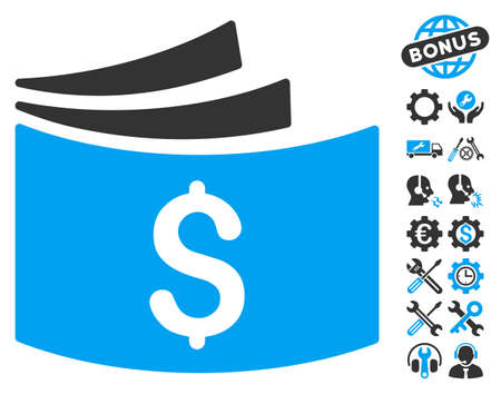 Checkbook icon with bonus tools pictograph collection. Vector illustration style is flat iconic bicolor symbols, blue and gray colors, white background.