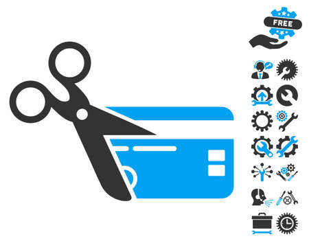 close account: Cut Credit Card pictograph with bonus tools pictures. Vector illustration style is flat iconic bicolor symbols, blue and gray colors, white background. Illustration