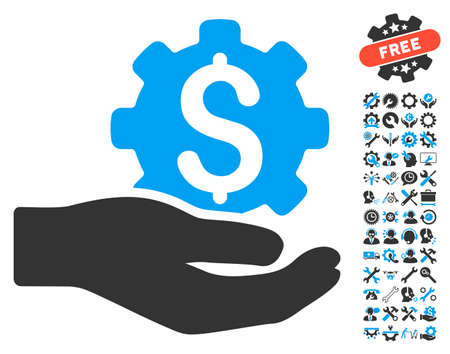 Engineering Service pictograph with bonus tools icon set. Vector illustration style is flat iconic bicolor symbols, blue and gray colors, white background.