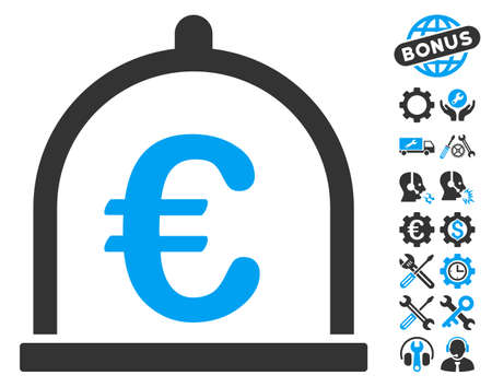 Euro Storage icon with bonus tools pictures. Vector illustration style is flat iconic bicolor symbols, blue and gray colors, white background.
