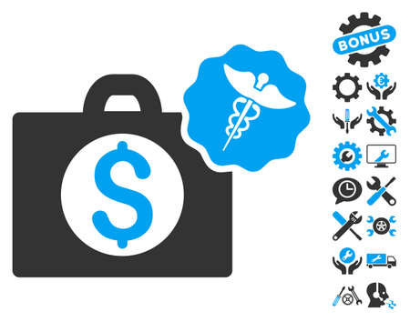 Medical Business icon with bonus tools pictogram. Vector illustration style is flat iconic bicolor symbols, blue and gray colors, white background.