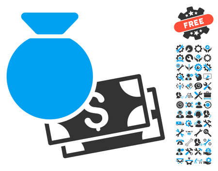 Money Bag icon with bonus tools design elements. Vector illustration style is flat iconic bicolor symbols, blue and gray colors, white background.