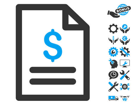 nomenclature: Price List icon with bonus tools pictogram. Vector illustration style is flat iconic bicolor symbols, blue and gray colors, white background. Illustration