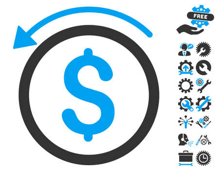 Refund pictograph with bonus tools images. Vector illustration style is flat iconic bicolor symbols, blue and gray colors, white background.