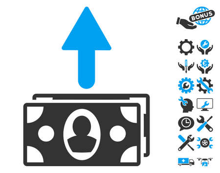 spend: Spend Banknotes icon with bonus tools pictograph collection. Vector illustration style is flat iconic bicolor symbols, blue and gray colors, white background.
