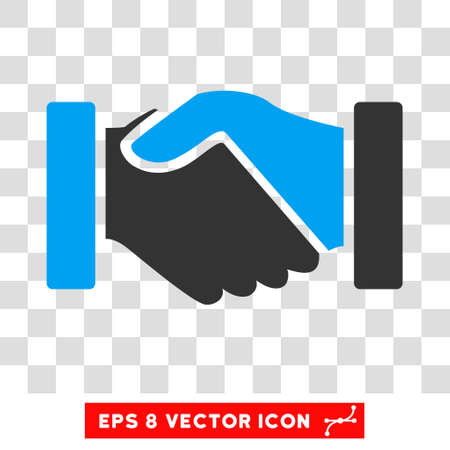 Vector Acquisition Handshake EPS vector pictograph. Illustration style is flat iconic bicolor blue and gray symbol on a transparent background. Ilustração