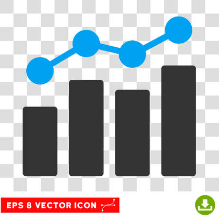 Vector Analytics EPS vector pictogram. Illustration style is flat iconic bicolor blue and gray symbol on a transparent background.