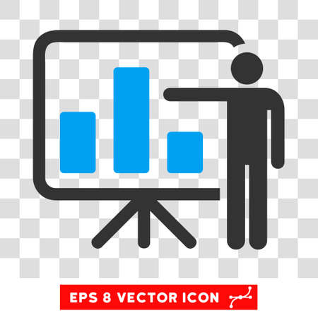 presentaion: Vector Bar Chart Presentation EPS vector pictograph. Illustration style is flat iconic bicolor blue and gray symbol on a transparent background.