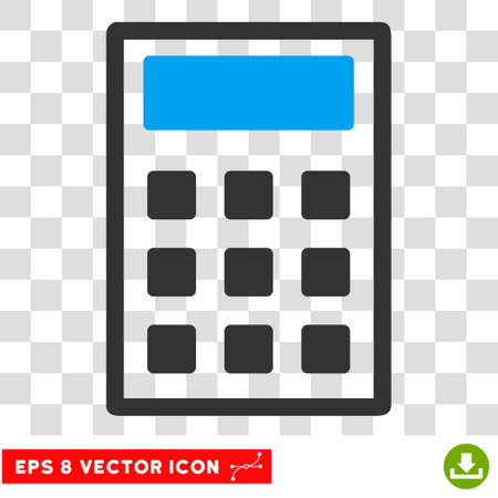estimation: Vector Calculator EPS vector icon. Illustration style is flat iconic bicolor blue and gray symbol on a transparent background. Illustration