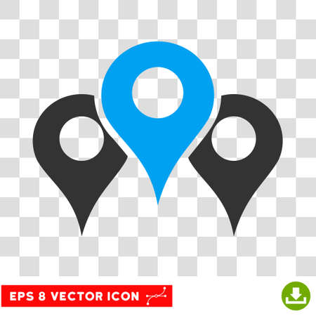 Vector Standorte EPS-Vektor-Symbol. Illustration Stil ist flach ikonischen bicolor blau und grau-Symbol auf einem transparenten Hintergrund.
