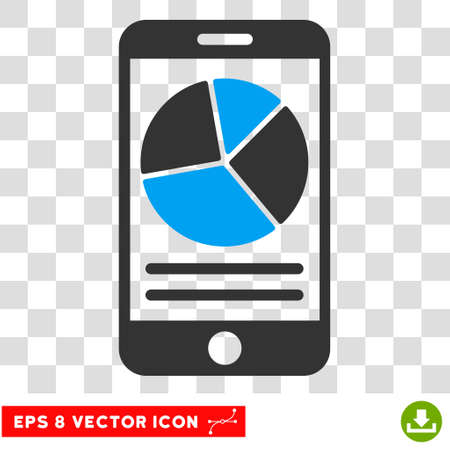 Vector Mobile Report EPS vector pictogram. Illustration style is flat iconic bicolor blue and gray symbol on a transparent background.