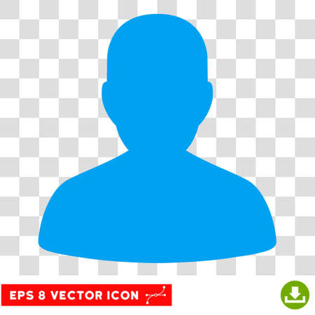 Vector User Account EPS vector icon. Illustration style is flat iconic blue symbol on a transparent background.