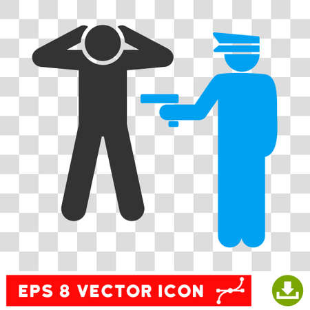 arrest: Vector Arrest EPS vector icon. Illustration style is flat iconic bicolor blue and gray symbol on a transparent background.