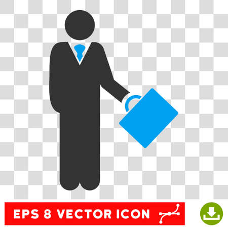 stockbroker: Vector Businessman EPS vector icon. Illustration style is flat iconic bicolor blue and gray symbol on a transparent background.