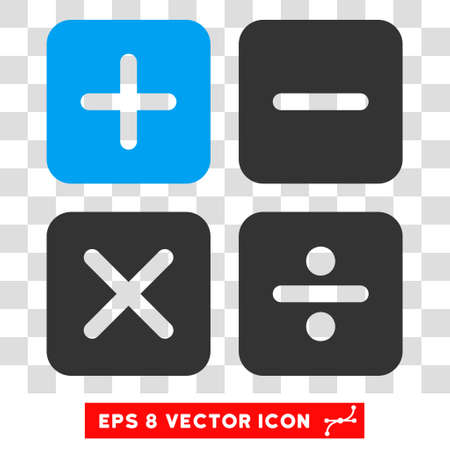 calc: Vector Calculator EPS vector pictograph. Illustration style is flat iconic bicolor blue and gray symbol on a transparent background.